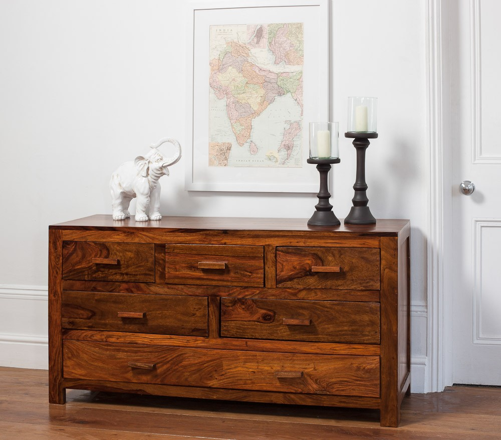 Solid Wood Chest Of Drawers Large Casa Bella Sheesham