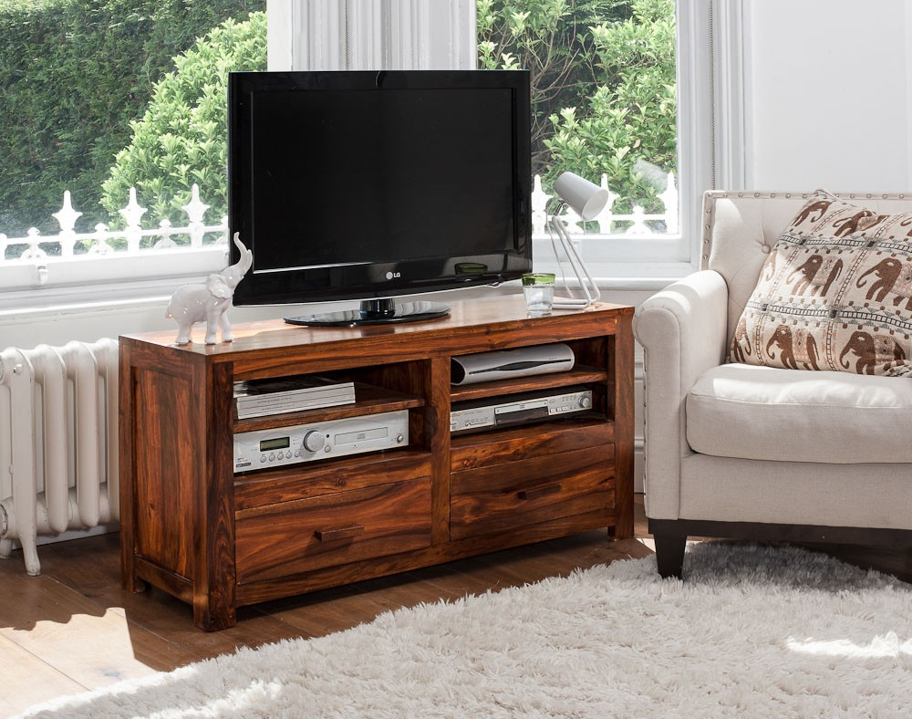 Solid wood tv console casa bella handcrafted sheesham furniture kashmir sheesham large tv unit 1 geotapseo Image collections