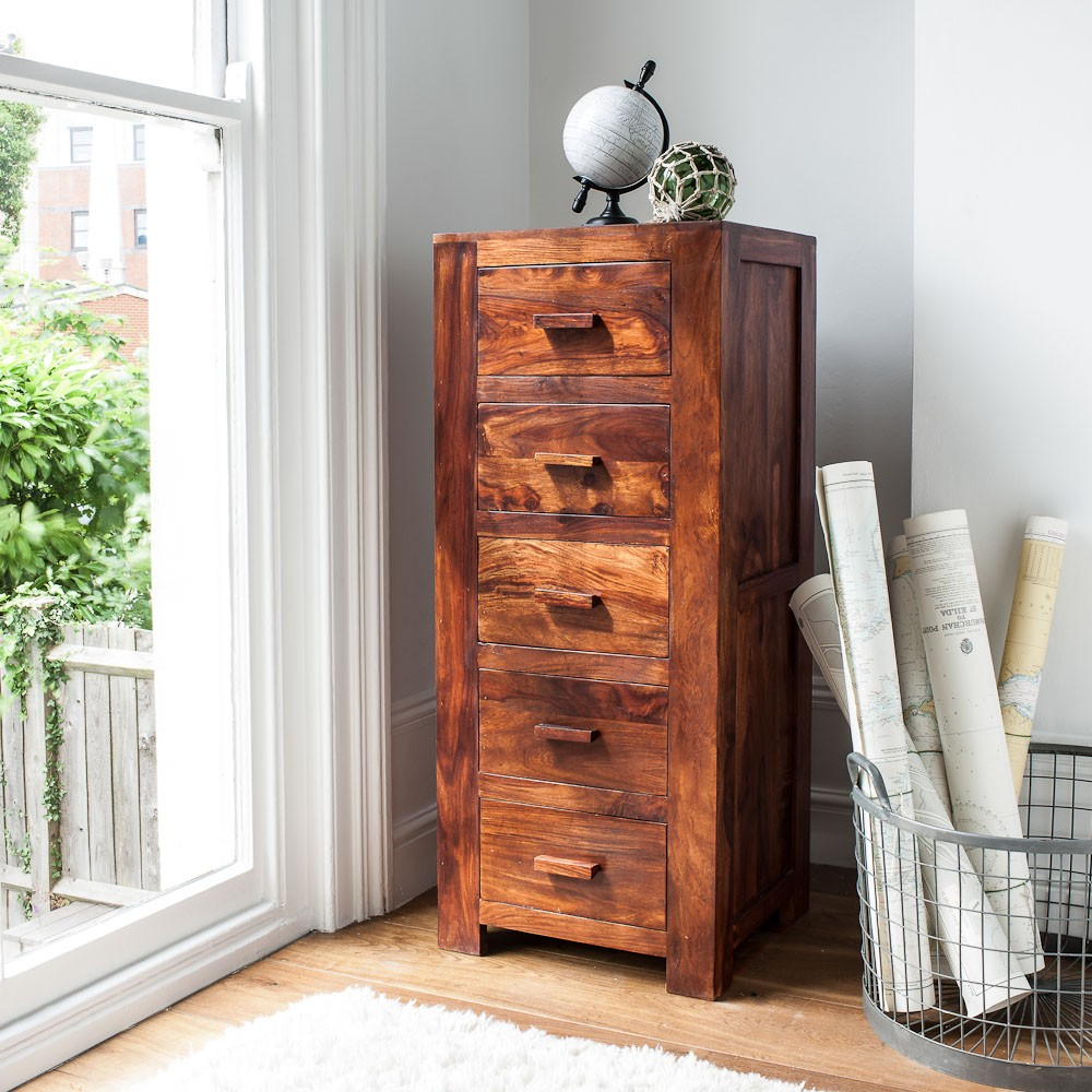 Chest Of Drawers Tall Casa Bella Handcrafted Sheesham
