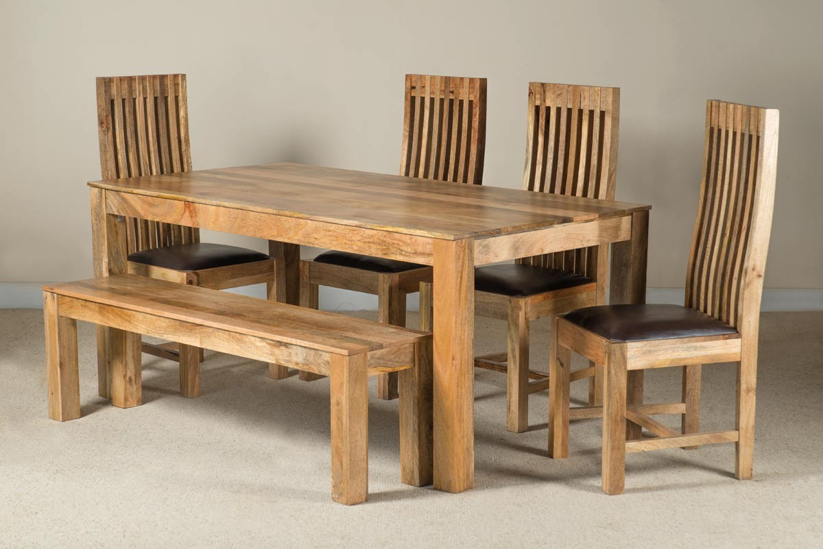 Mango Natural Leather 6 Seater Dining Set With Bench