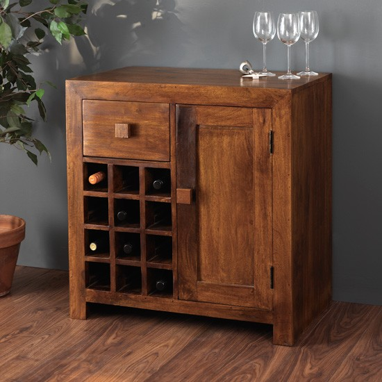 Solid Mango Wood Wine Cabinet 12 Bottle Rack Casa