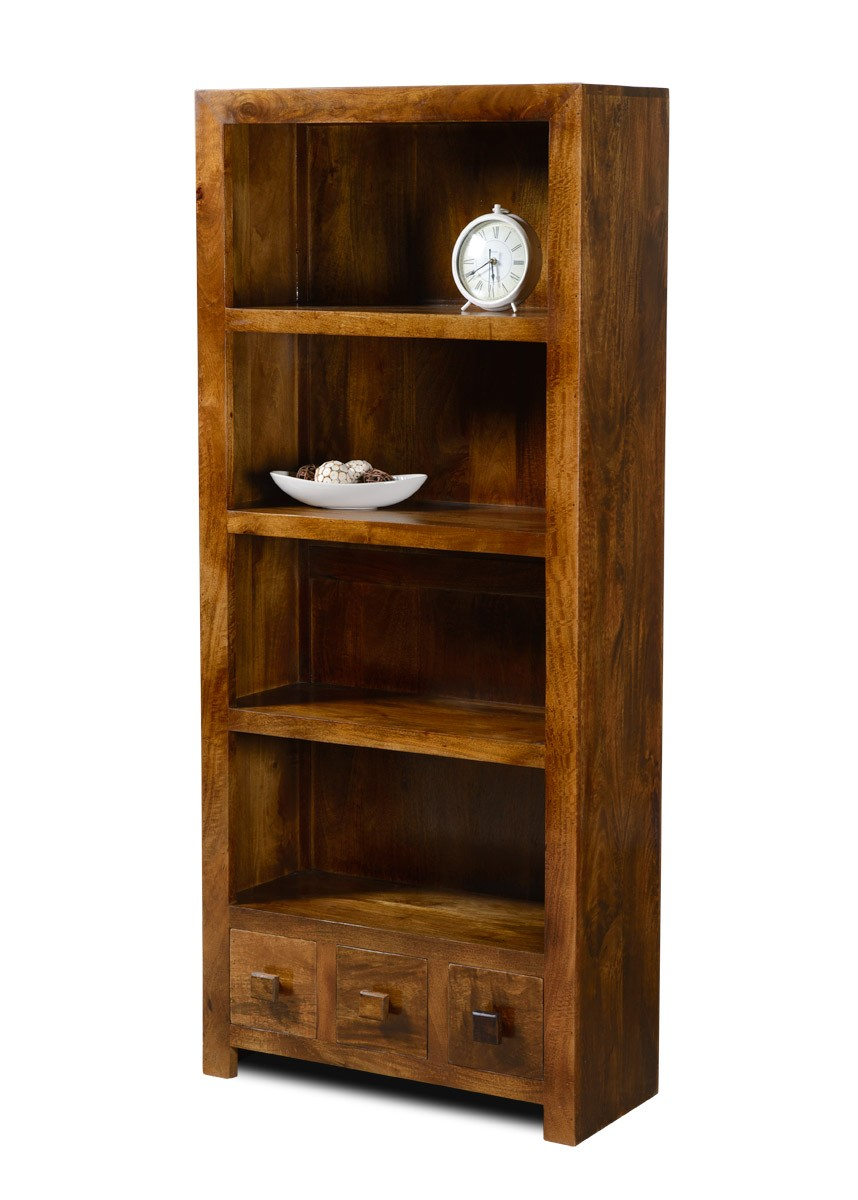 Dakota Mango 3 Drawer Bookcase Bookcases Shelving Dining