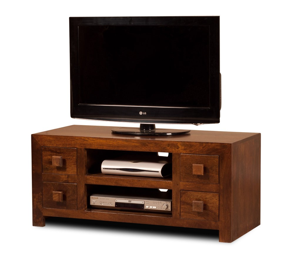 Solid Mango Wood Low Tv Unit Casa Bella Handcrafted