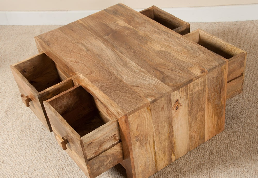 mango wood 4 drawer coffee table honey and walnut table. Black Bedroom Furniture Sets. Home Design Ideas