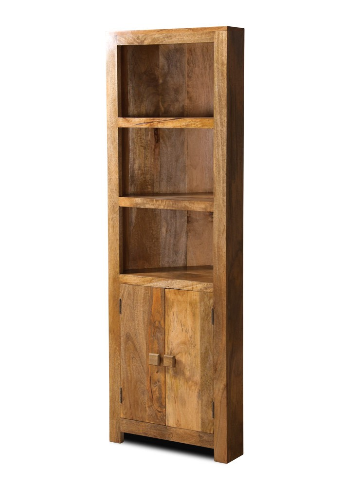 Solid mango wood corner bookcase casa bella fine indian