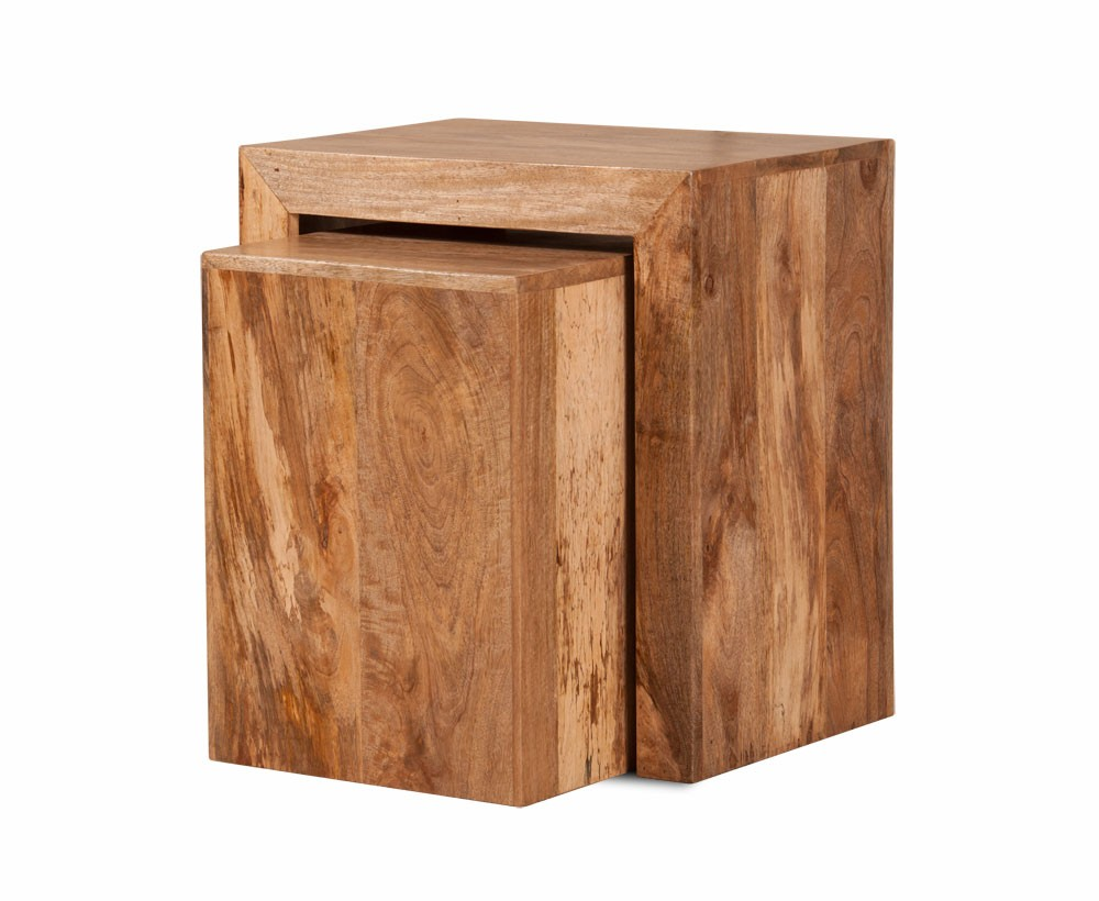mango wood side table rich honey stain cube nest casa. Black Bedroom Furniture Sets. Home Design Ideas