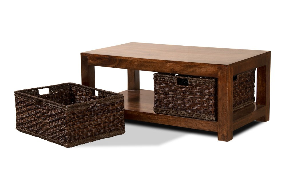 Dakota Mango Large Coffee Table With Baskets Dark