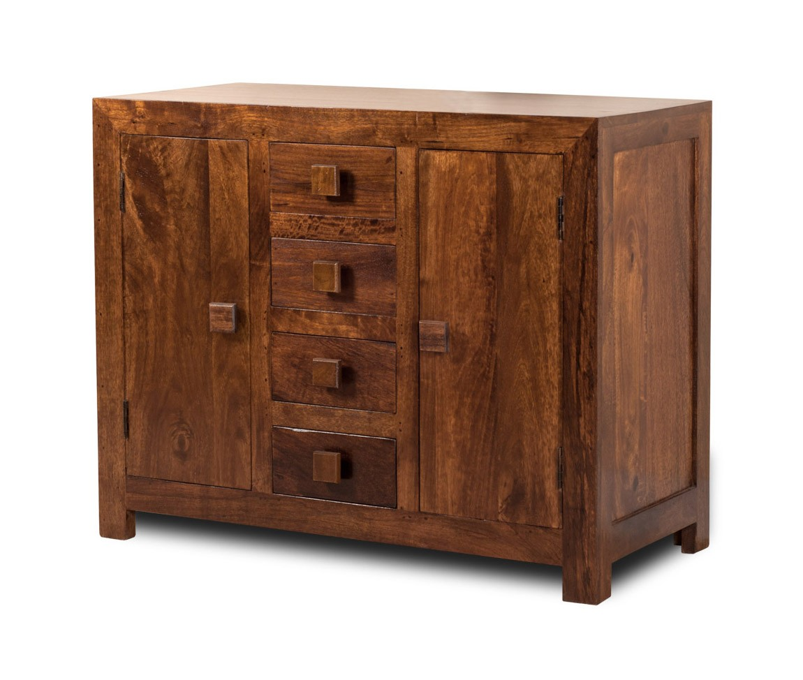 Solid mango wood sideboard small casa bella fine for Sideboard indien