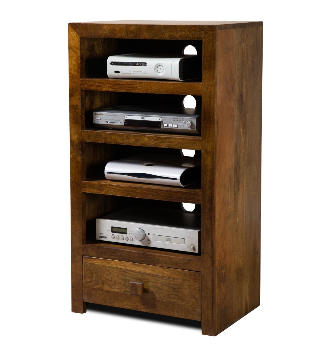 Solid Mango Wood Hi Fi Shelving Unit Tall Casa Bella