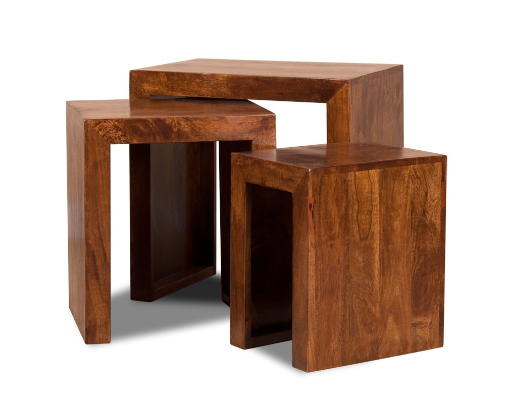 Set Of Three Solid Wood Nesting Tables Dakota Mango