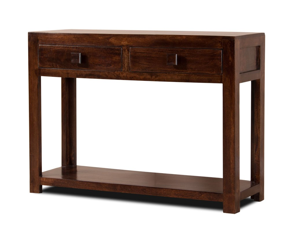 Dark walnut stained console table mango wood hall