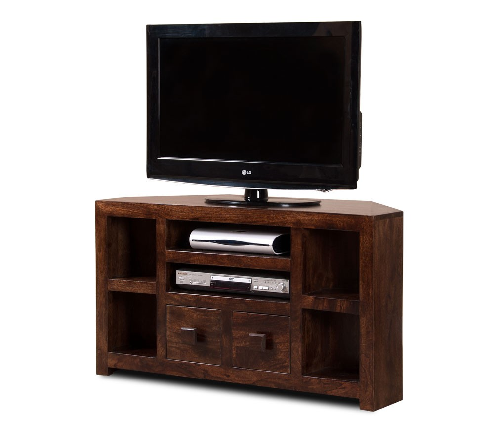 walnut stained indian mango wood tv stand   corner unit  casa  - dakota dark mango corner tv unit
