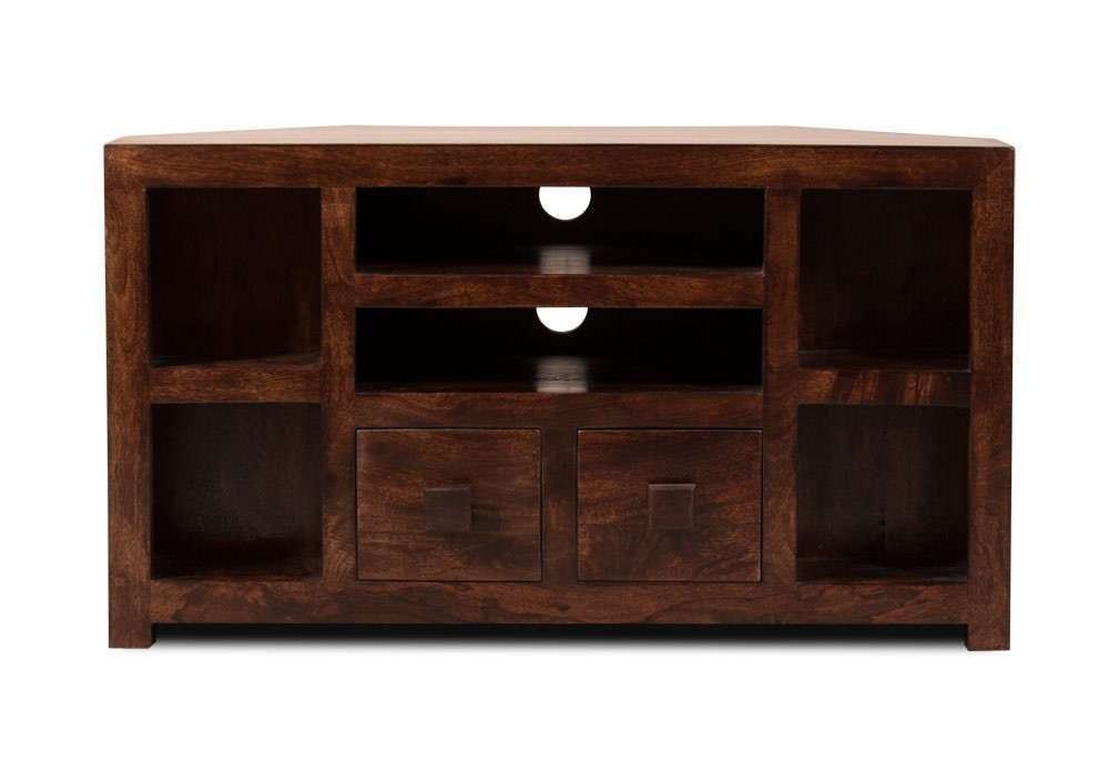 Walnut Stained Indian Mango Wood Tv Stand 42 Quot Corner