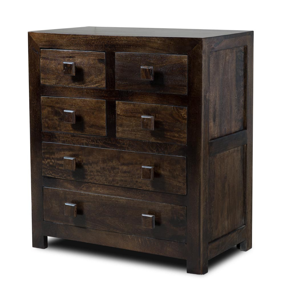 indian mango wood chest of drawers dark walnut stained. Black Bedroom Furniture Sets. Home Design Ideas