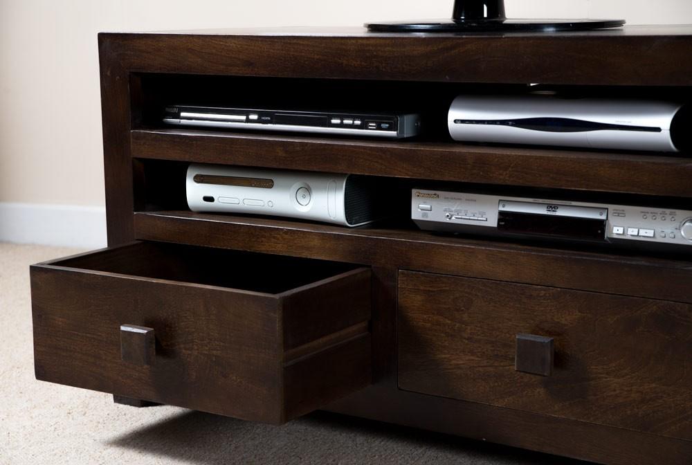 solid mango wood tv cabinet with drawers casa bella. Black Bedroom Furniture Sets. Home Design Ideas