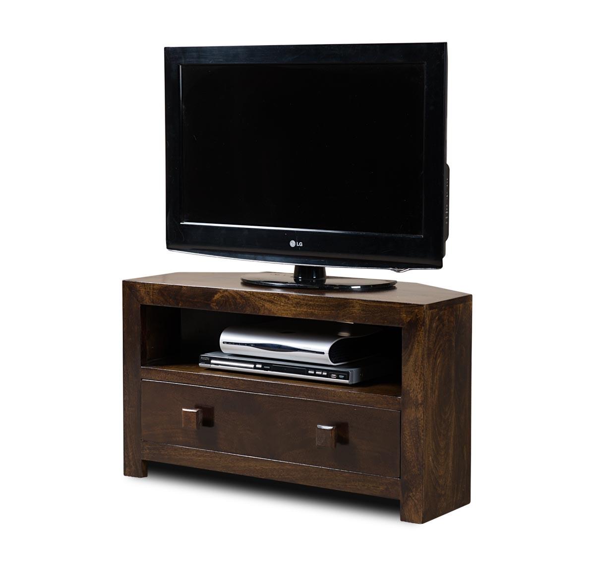 Dakota Dark Mango Small Corner Tv Stand