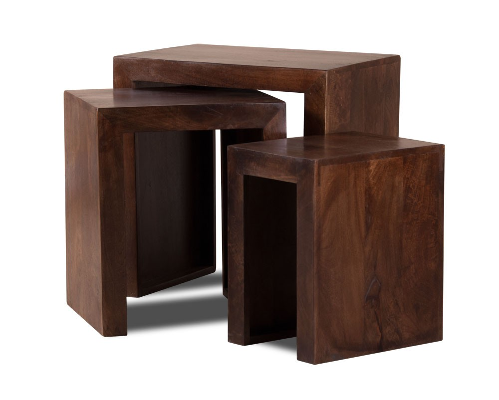 Set of three solid wood nesting tables dakota mango for Dark wood furniture