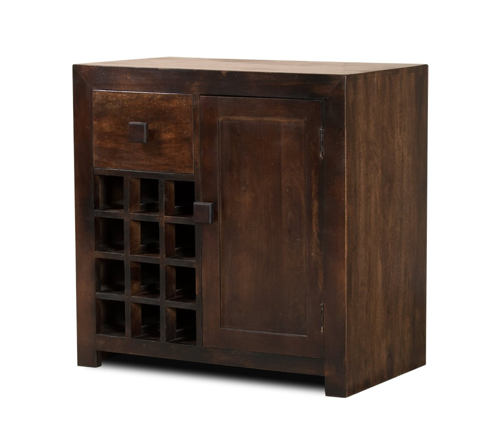 Solid Mango Wood Wine Cabinet Dark Walnut Stained Casa