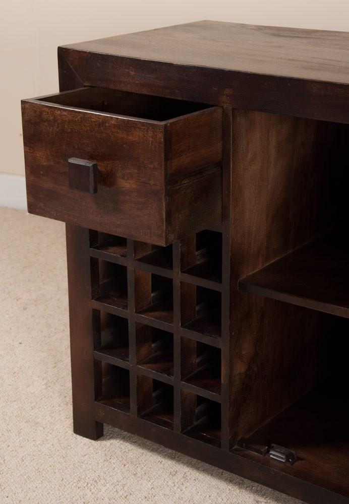 mango wood wine cabinet dark walnut stained casa bella furniture