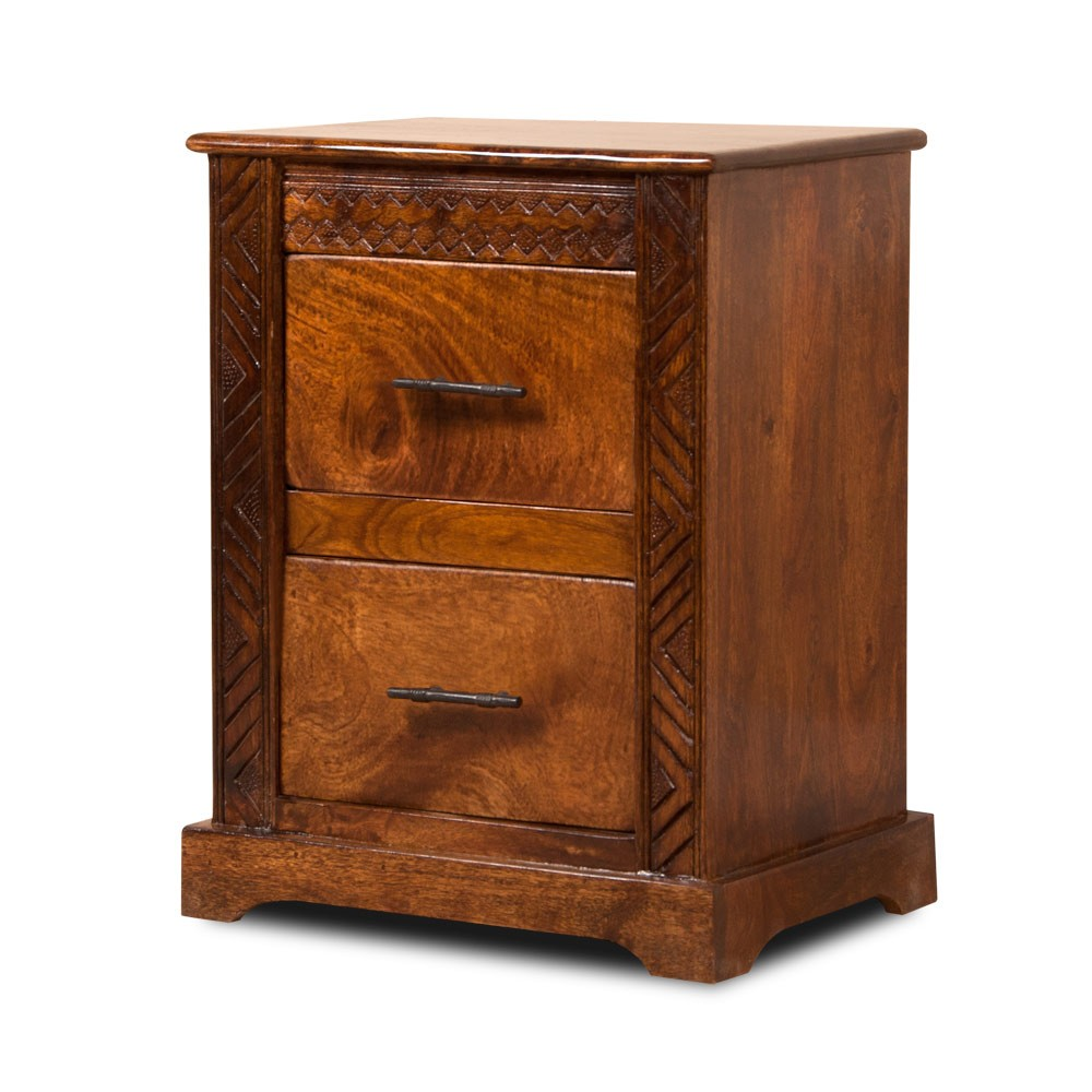 Bedside Table Solid Mango Wood Carved Design Casa