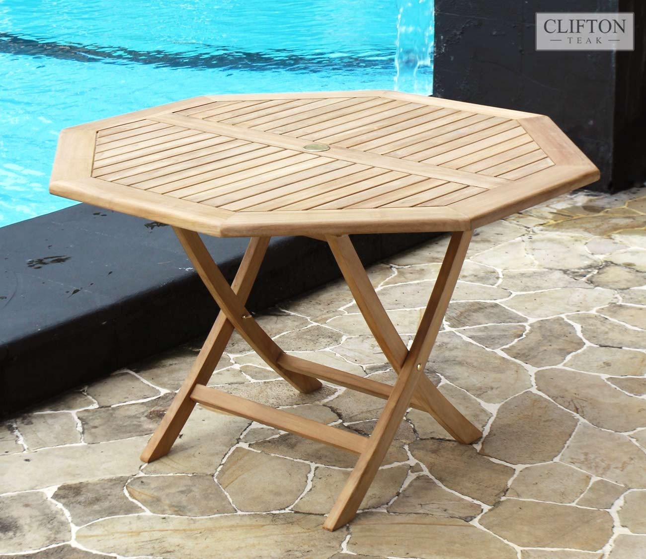 Montego Contemporary Merlot Wood Square End Table W Drawer: Teak 1.2m Octagonal Table