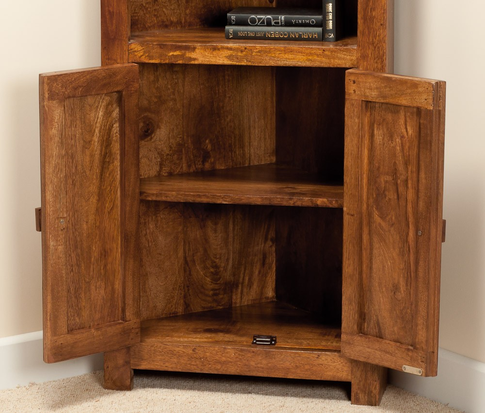 Solid Mango Wood Corner Bookcase Casa Bella Fine Indian