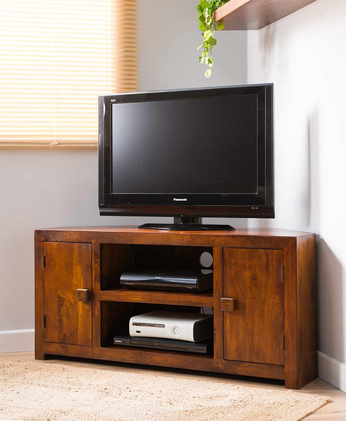 Solid Wood Corner Tv Cabinet Large Dakota Mango Furniture