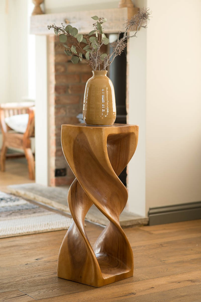 Solid Wood Double Twist Lamp Table Honey