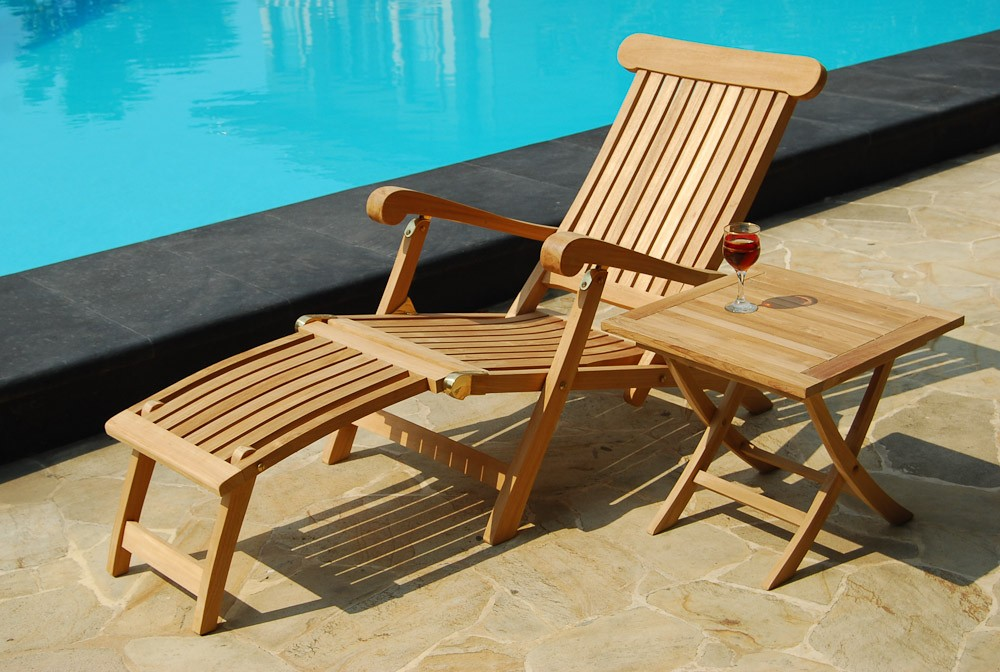 Teak Sun Lounger Pair With Cushion Reclines In 4 Positions Casa Bella