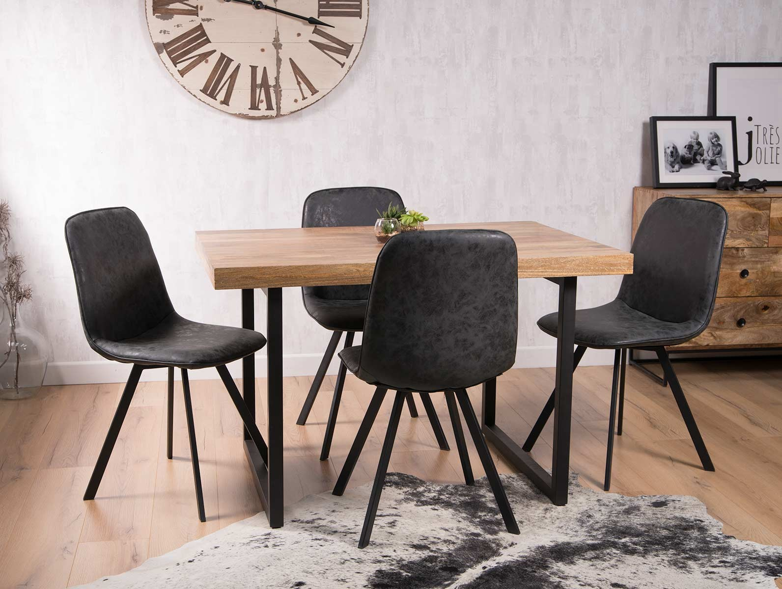 Industrial 4 Seater Dining Set 120cm Charcoal Grey
