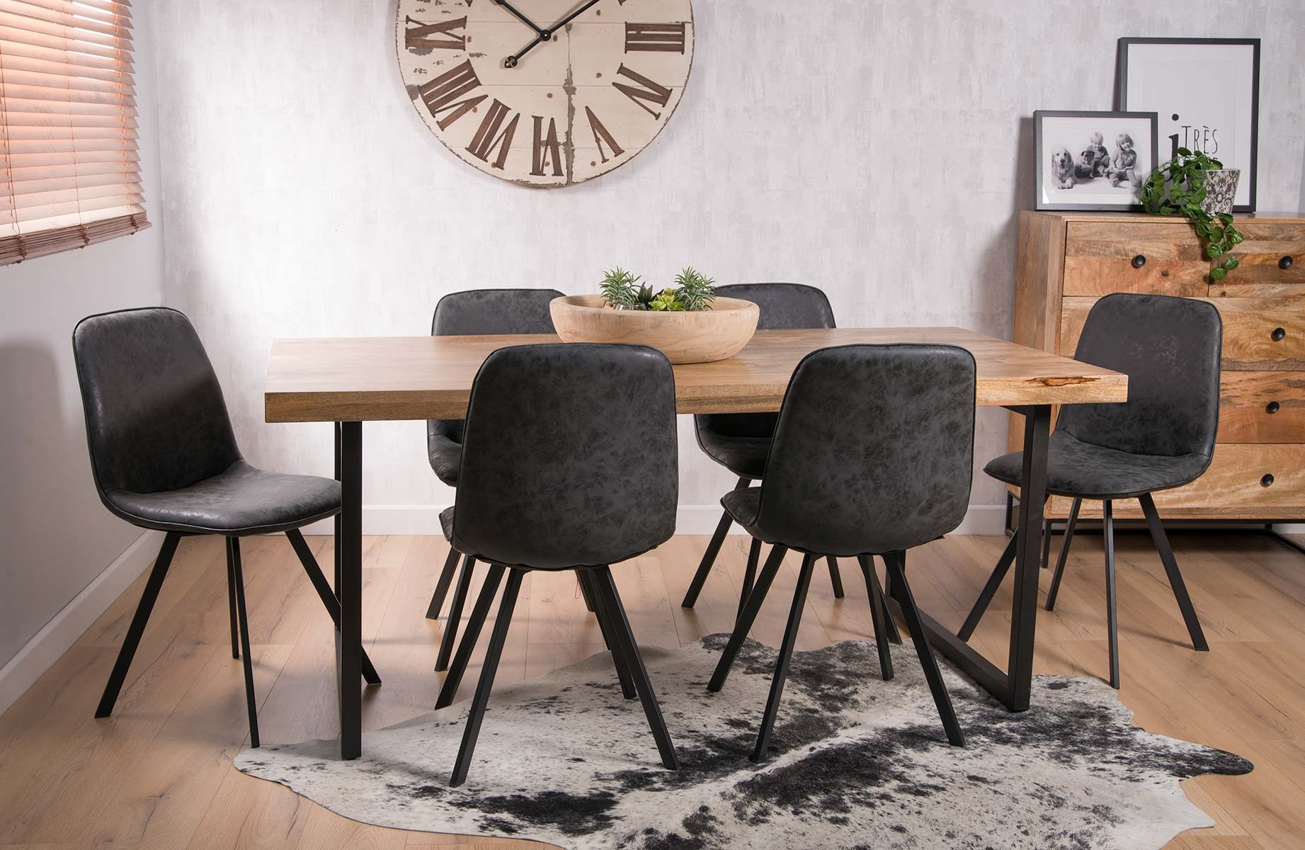 Industrial 6 Seater Dining Set Charcoal Grey Leather Chairs