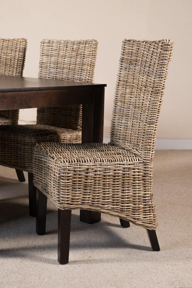 Rattan Dining Chair Light Coloured Weave Dark Legs