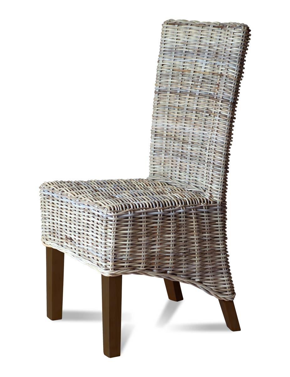 Rattan Dining Chair | Light Coloured Weave | Dark Legs ...