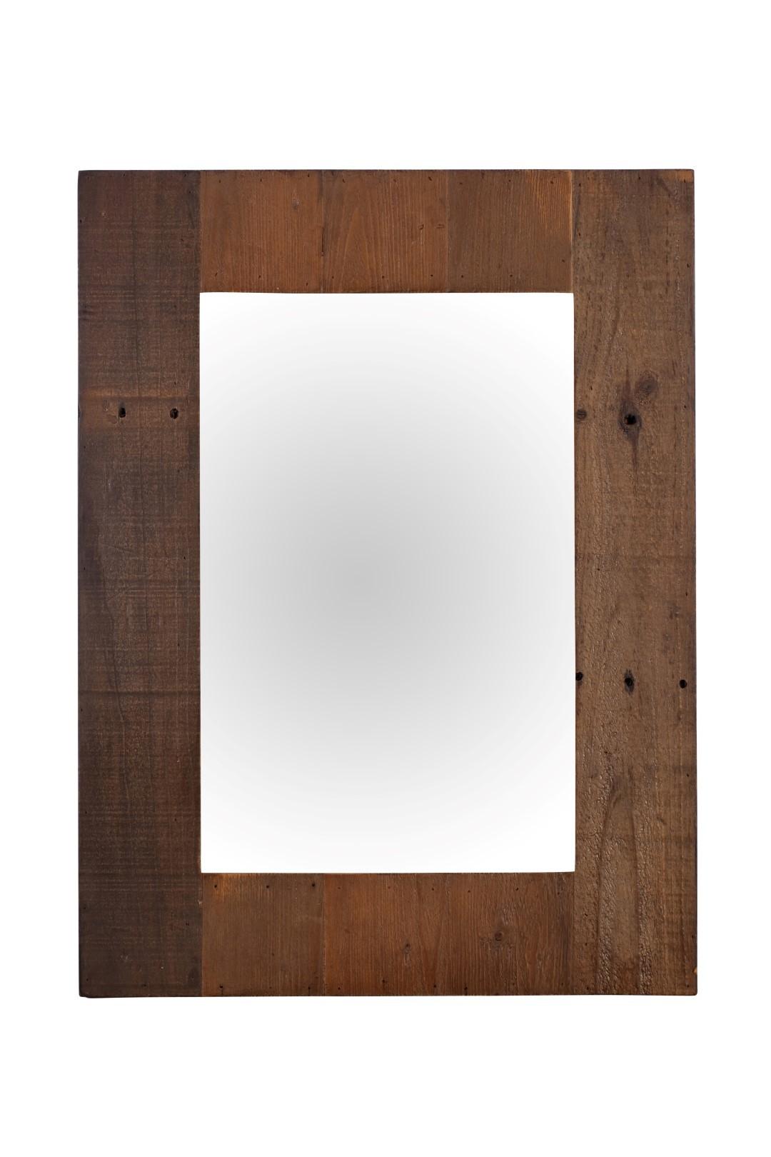 Brooklyn industrial wall mirror reclaimed solid wood for Mirror 60cm x 80cm