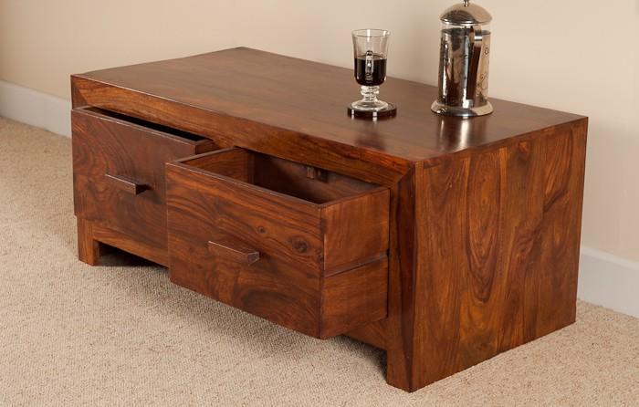 Sheesham Wood Coffee Table 4 Drawer Storage Casa Bella