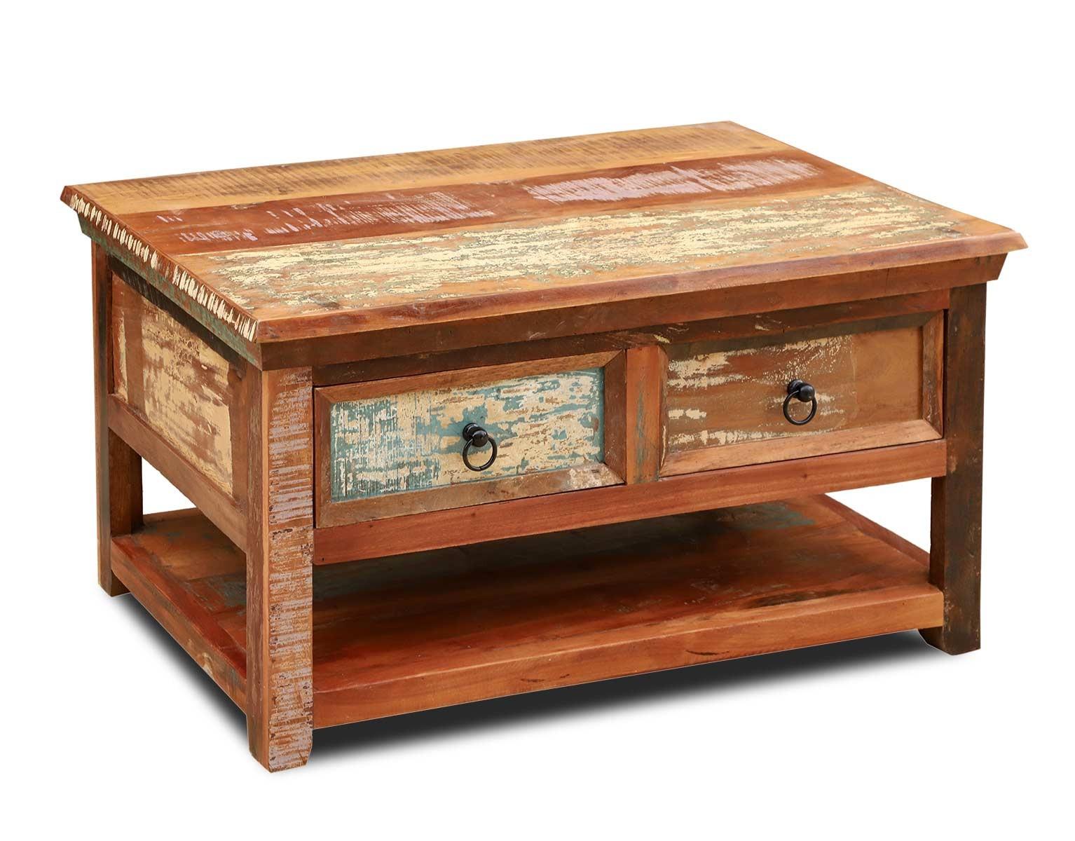 Reclaimed Wood Coffee Table 2 Drawers Lower Shelf