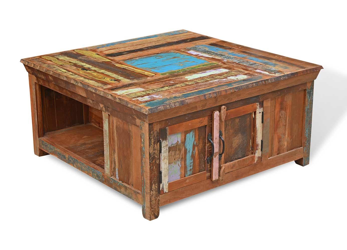 Reclaimed Indian Square Storage Coffee Table Satara Furniture