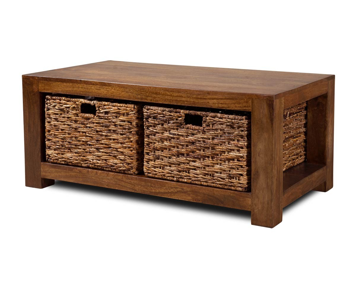 Dakota mango large coffee table with baskets Coffee table baskets
