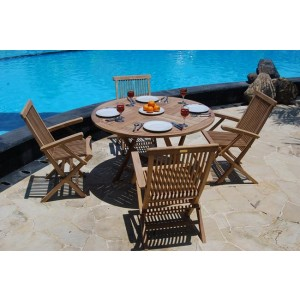 Wiltshire 4-Seater Round Teak Patio Set 1