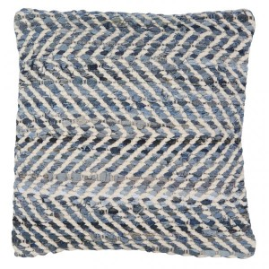 White/Blue Recycled Denim & Chenille Scatter Cushion 45x45cm
