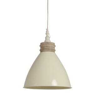 Ivory Metal and Wood Hanging Ceiling Light