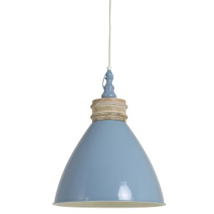 Blue Metal and Wood Hanging Ceiling Light 1