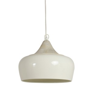 Off White Metal and Wood Ceiling Light