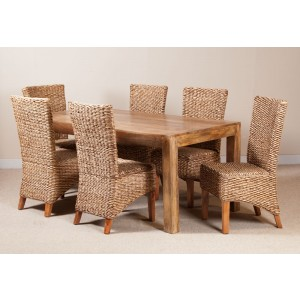 Milano Rattan 6 Seater Light Mango Dining Set  1