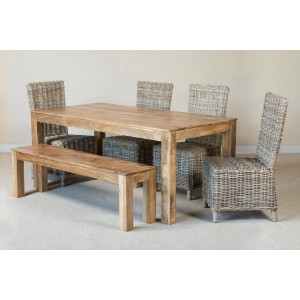 Bahary 6-Seater Light Mango Dining Set With Bench 1
