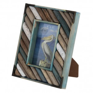 Blue Wood & Driftwood Oblong Photo Frame