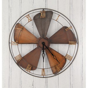 Industrial Fan Design Metal Wall Clock