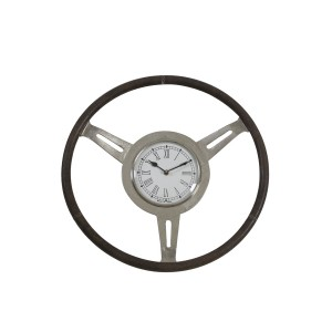 Raw Nickel & Grey Leather Steering Wheel Clock