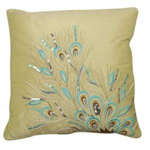 Pistachio Sequin Peacock Feathers Cushion 1