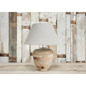 Carved Mango Wood Lamp 1